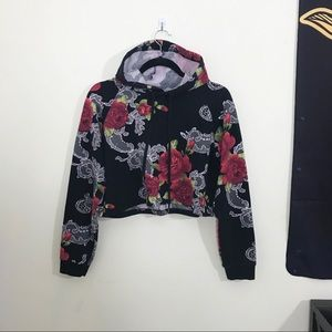 FOREVER 21 Floral Cropped Hoodie